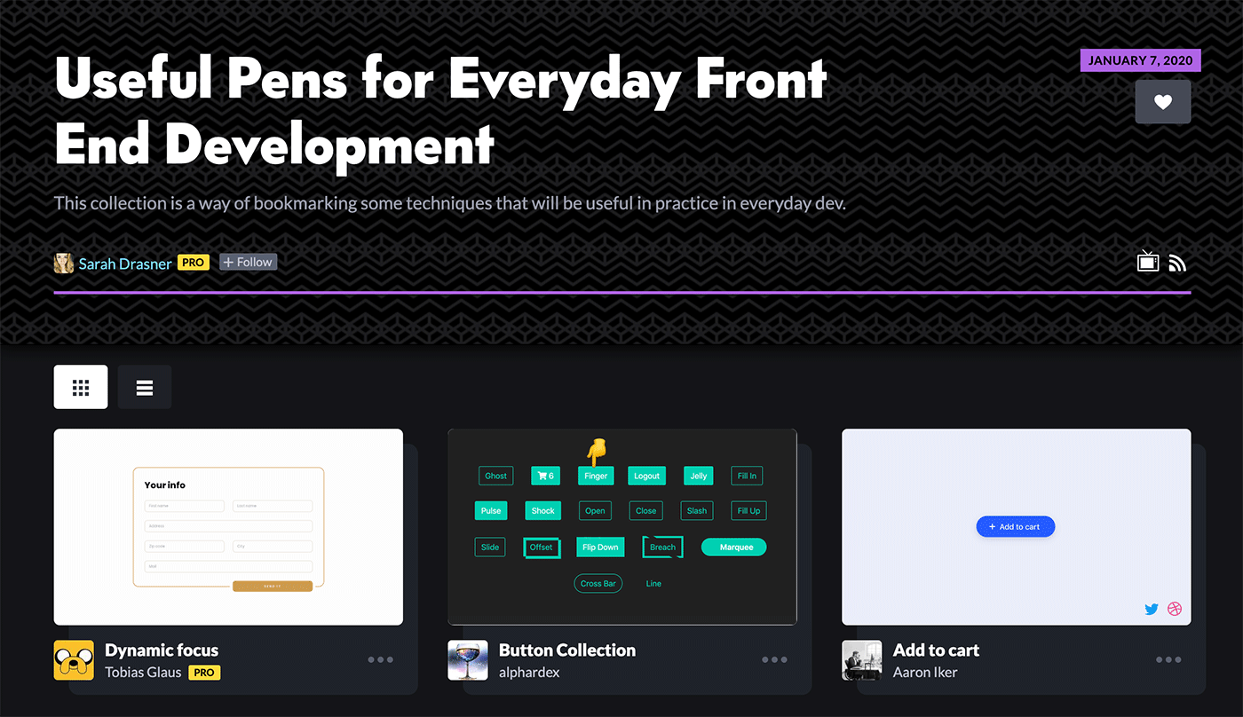 Screenshot of the CodePen collection landing page